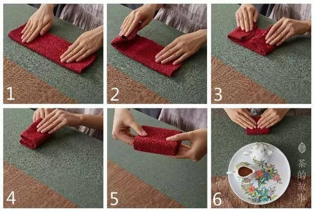 中国茶 茶巾のたたみ方(畳被法)