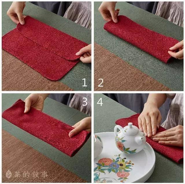 中国茶 茶巾のたたみ方(三折法)